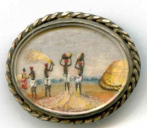 Rare 18th Century Pictorial Blackiana Button