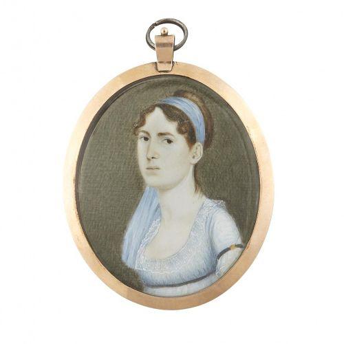 A Rare Matthew Jouett Miniature Portrait c1810