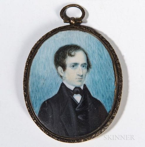 American Portrait Miniature of a Gentleman c1830