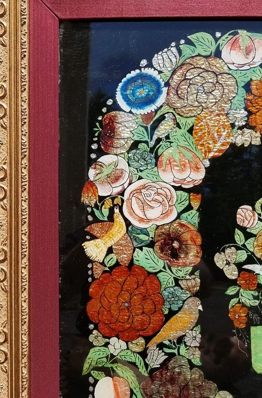 Rare and Large Tinsel Foil Painting 19th Century