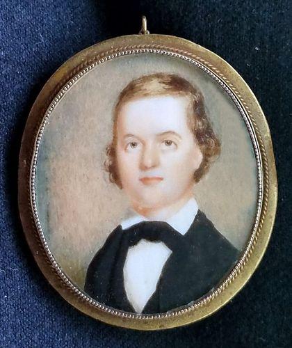 American Miniature Portrait of a Gent c1835