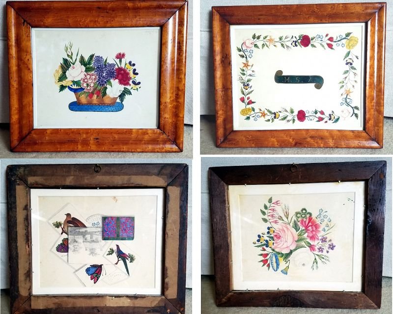 A Beautiful Set of 4 Schoolgirl Paintings  c1840