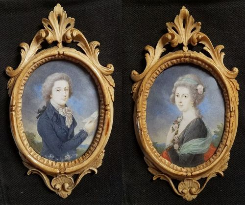 Fine Pair of Portrait Miniatures with Rare Frames 18th - 19th C