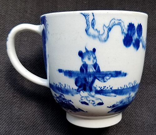 Rare Bow Porcelain Golfer and Caddy Chocolate Cup  c1760