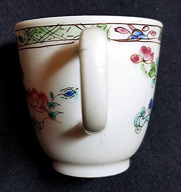 Rare Famille Verte Bow Porcelain Coffee Cup c1754