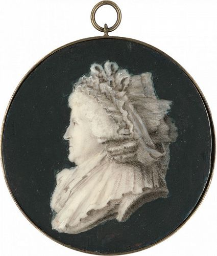 Unusual Portrait Miniature of a Woman c1790