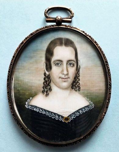 A Striking Mrs. Mose B. Russell Miniature Portrait c1840