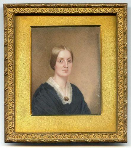 Signed Portrait Miniature of T. Roosevelt Grandmother c1842