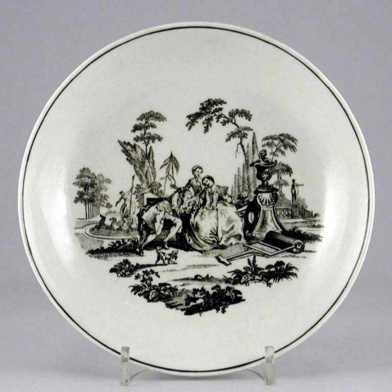 "First Period Worcester Saucerdish, ""L'Amour""; c 1765"