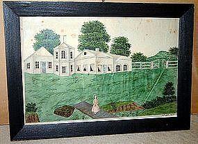 Wonderful Farm Scene with Figure Lancaster PA  C 1845