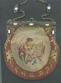 Needlework Purse with Spectacular Jeweled Frame c 1870