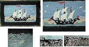 Sweet Sailing Ship Hooked Rug c 1910