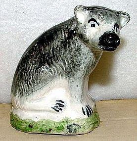 Rare Colored Glaze Figure of Hyena or Jackal c 1790
