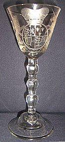 Spectacular Newcastle Light Baluster Wine Glass c 1745