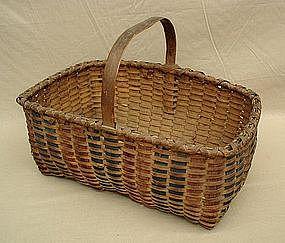 Three Color Splint Gathering Basket; c 1880