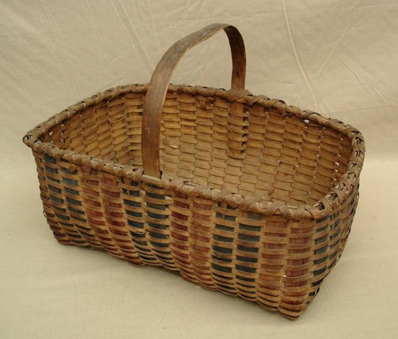 Three Color Splint Gathering Basket; c 1880