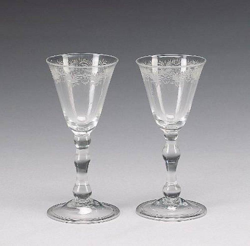 Antique Wine Glasses, Light Balusters, Pair  c  1750