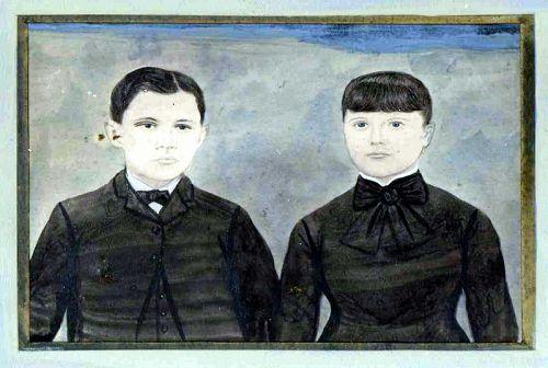 American Folk Art Watercolor Double Portrait c 1850