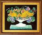 Charming American Folk Art Tinsel Painting  c1890