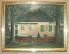 American Folk Art Painting of House  c Mid 19th C