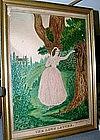 Wonderful American Folk Art Watercolor,  Dated 1846