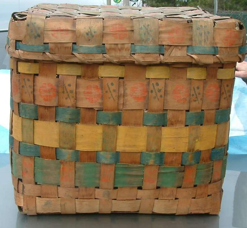Covered Paint Decorated Splint Basket, Maine  c 1850