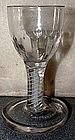 English Opaque Twist Dram Firing Glass  c 1765