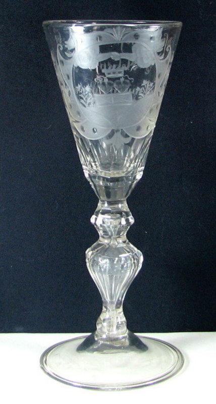 A Large German Friendship Glass Wine Goblet   c1740