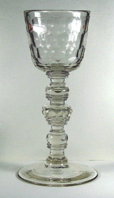 Large Bohemian Antique Glass  Baluster Goblet  c 1720