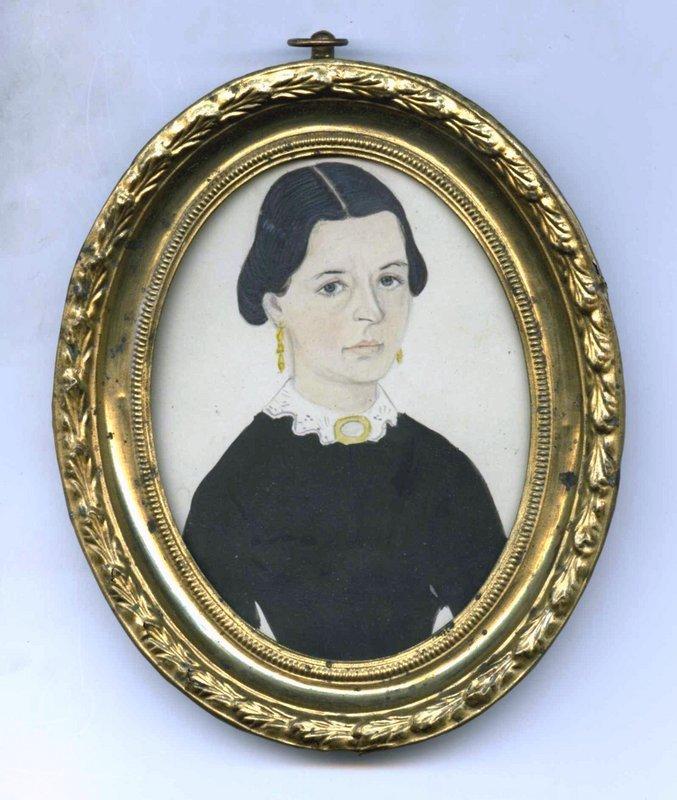 Signed J.A. Davis Watercolor Portrait  c1840