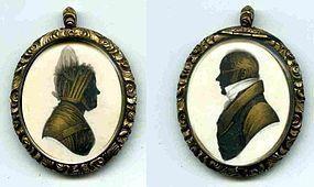 John Field Miniature Double Silhouette  c1795