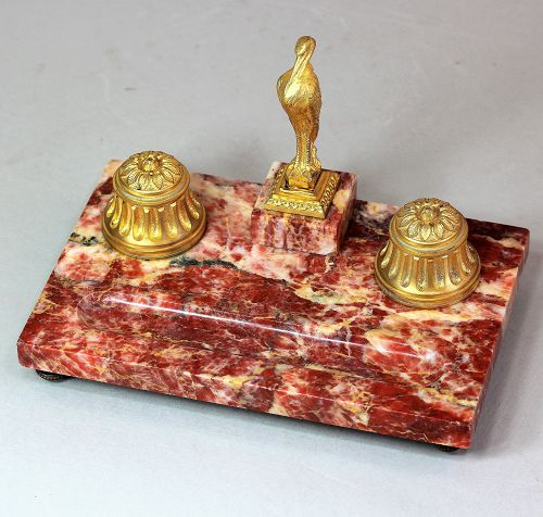 French pink Marble & Ormolu Desk set with Heron top Seal
