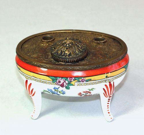 French Porcelain & gilded embossed metal mounted Inkwell Pen holder
