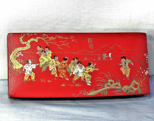 French Papier Mache red Lacquer Pencil Box