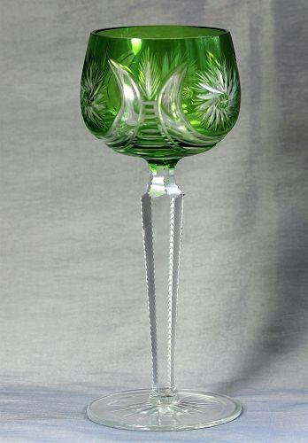 Bohemian Cut Crystal tall Wine Glass, green to clear cut