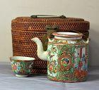 Chinese Export Rose Medallion Porcelain Tea set in fitted basket