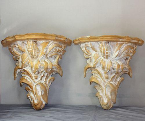Pair Italian Wood Wall Brackets/Shelves
