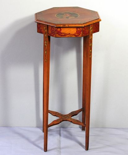 English Satinwood hand painted octagonal tall Table