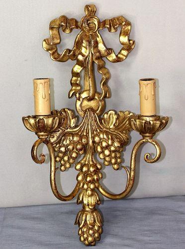 Italian Gilt on Wood carved two(2) light Sconce, Grape design