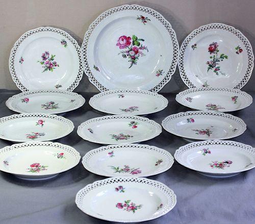 13 German Berlin Porcelain reticulated deep Plates & Charger set