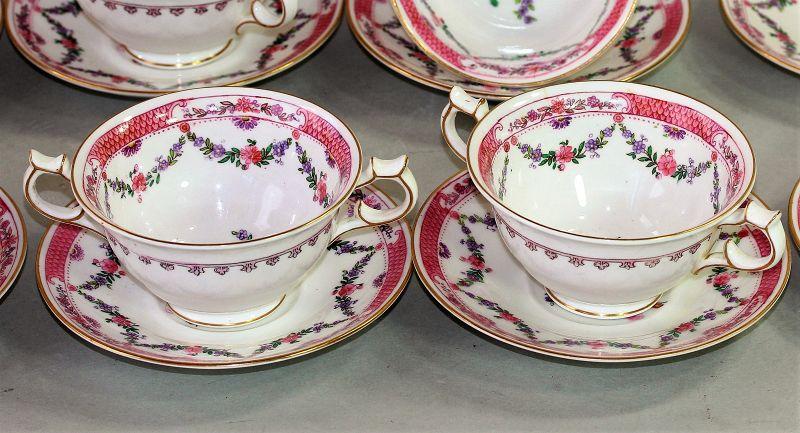 """8 English """"Crescent"""" Porcelain Bouillon Cups & Saucers"""
