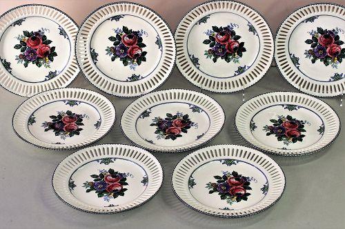 "9 German ""Waechtersbach"" Earthenware reticulated border plates"
