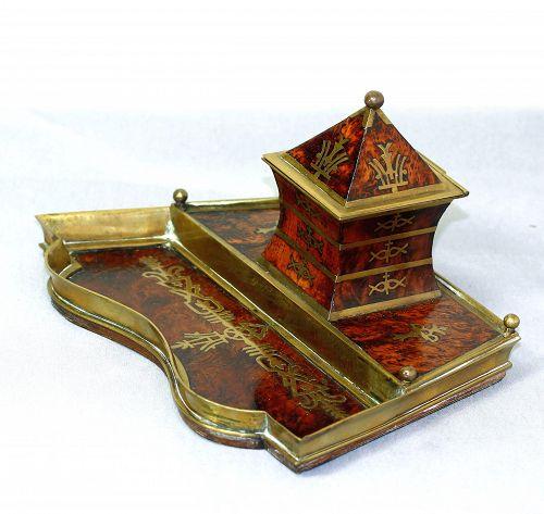 European Art Deco Brass & Burl Walnut inlaid Standish, desk set