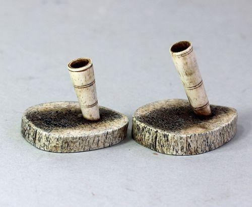 Pair European Bone Pen Holders