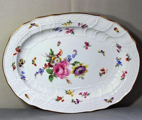 German Meissen Porcelain Platter, Blue cross sword mark