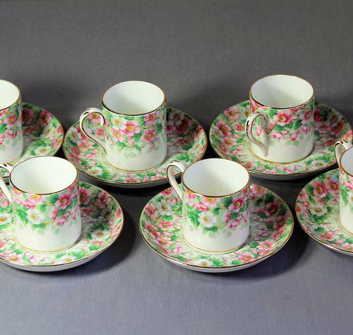 6 English Staffordshire Porcelain Demitasse Cups & Saucers