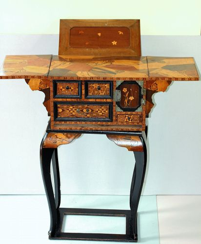 Japanese Marquetry inlaid Wood Book Stand, Chess, Work Table