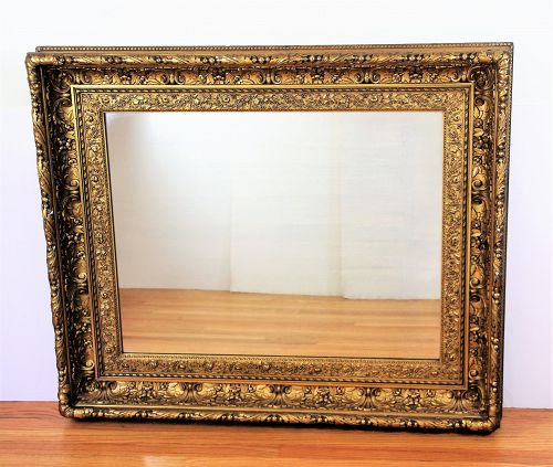Gold large Mirror, deep multiple step, gilt on carved wood