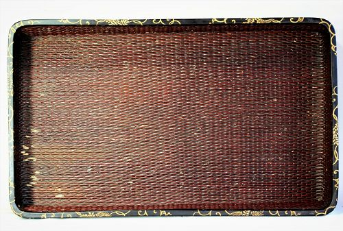 Japanese Kimono Tray,  Lacquer on Reed with Lacquer top trim