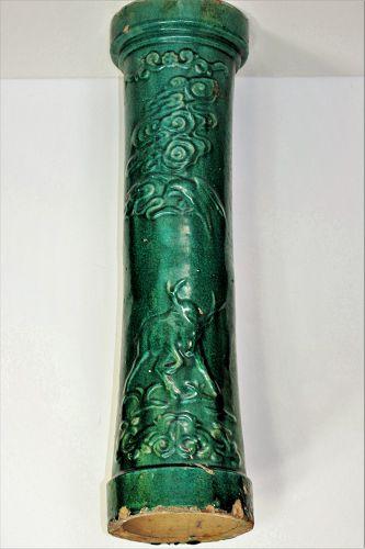 Chinese Green Pottery Garden Column, Horse, Deer, Hawk & Monkey design